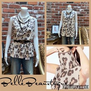 Leopard Print Cowl Neck Top w/ Hidden Face Mask